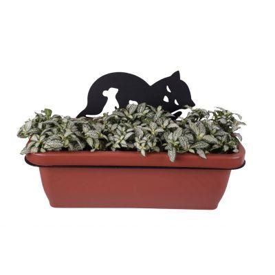 Настенный кронштейн с ящиком для цветов Кошка