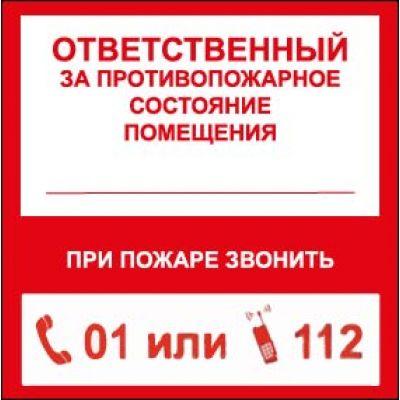 """Наклейка маленькая  """"Ответственный за пожарную безопасность"""" №25 (10х10 см)"""