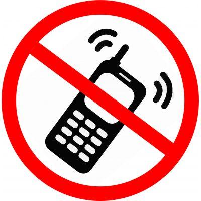 """Наклейка маленькая  """"Пользоваться телефоном запрещено"""" №24 (10х10 см)"""