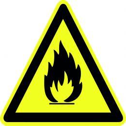 """Наклейка маленькая  """"Пожароопасно. Легковоспламеняющиеся вещества"""" №45 (10х10 см)"""