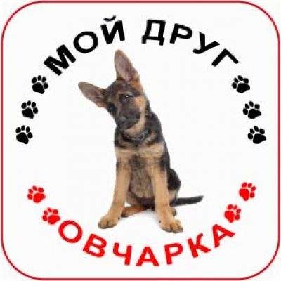 Наклейка круглая с собакой 06 - Овчарка