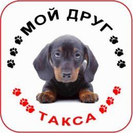 Наклейка круглая с собакой 07