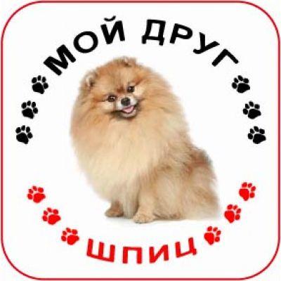 Наклейка круглая с собакой 010 - Шпиц