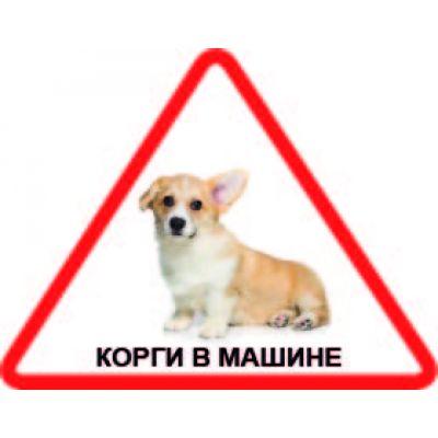 Наклейка треугольная с собакой 04 - Корги
