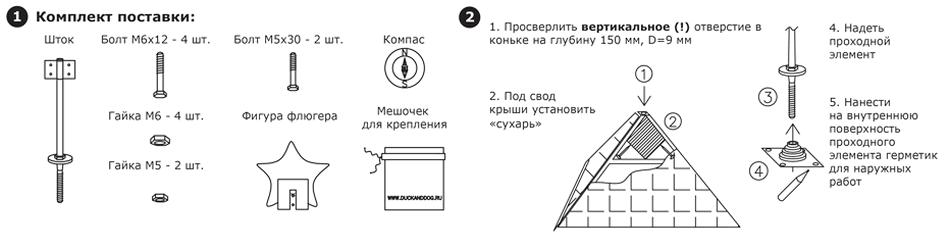 Установка флюгера на шатровую крышу