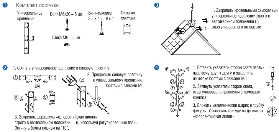 Как прикрепить флюгер на фронтон,конек,шатровую крышу